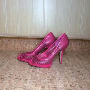 BCB Girls Pink Peep Toe Mesh Heels Size 61/2 361/2
